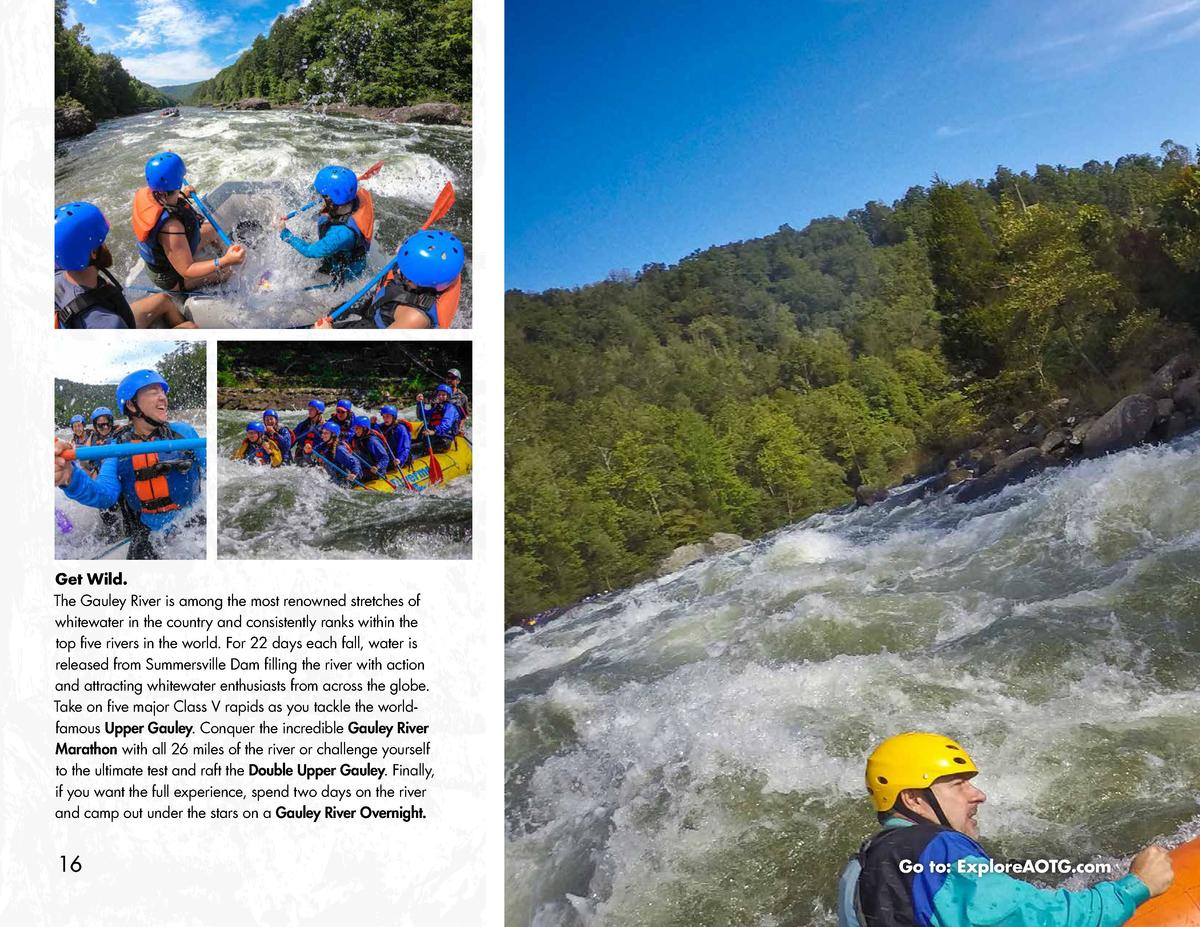 Get Wild. The Gauley River is among the most renowned stretches of whitewater in the country and consistently ranks within...