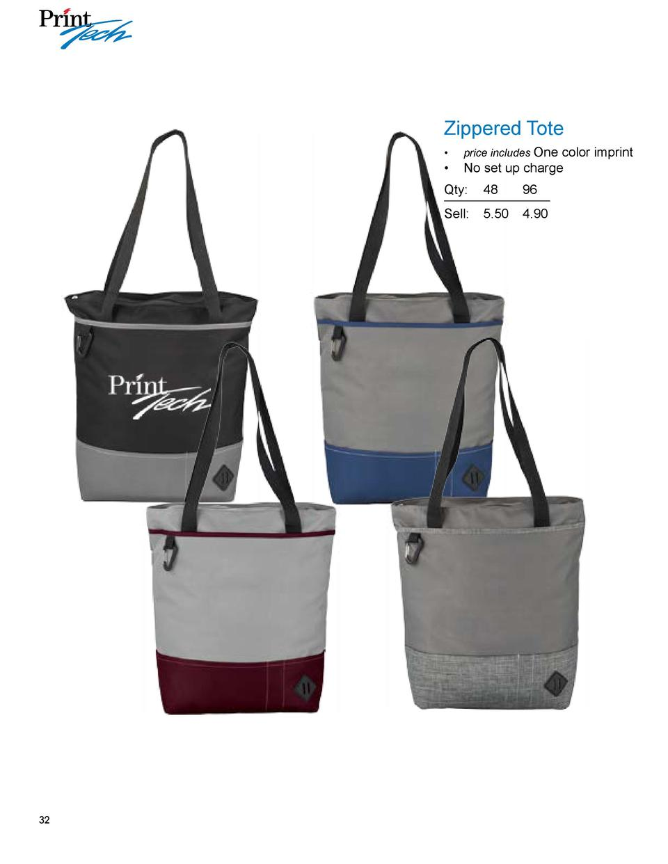 Zippered Tote color imprint      No set up charge       price includes One  Qty  48  96 Sell    5.50  4.90  32