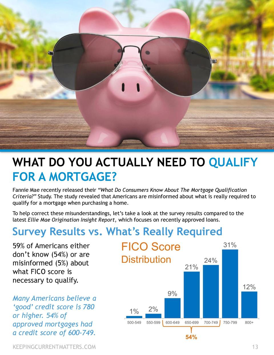 WHAT DO YOU ACTUALLY NEED TO QUALIFY FOR A MORTGAGE  Fannie Mae recently released their    What Do Consumers Know About Th...