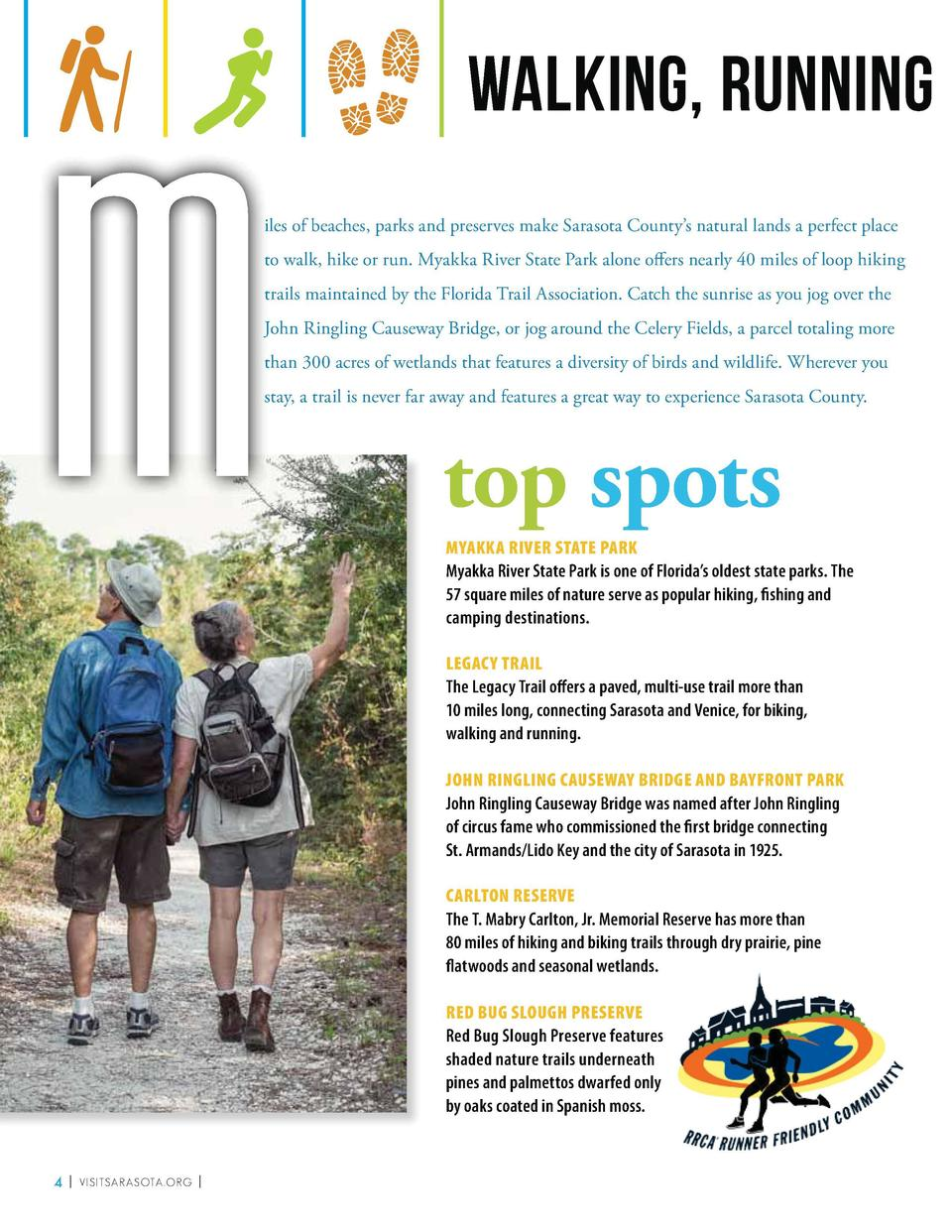 M  walking, running and hiking iiles of beaches, parks and preserves make Sarasota County   s natural lands a perfect plac...