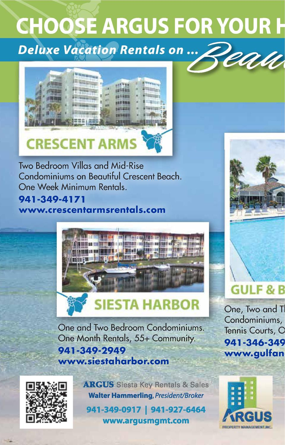 Beau Two Bedroom Villas and Mid-Rise Condominiums on Beautiful Crescent Beach. One Week Minimum Rentals. 941-349-4171 www....