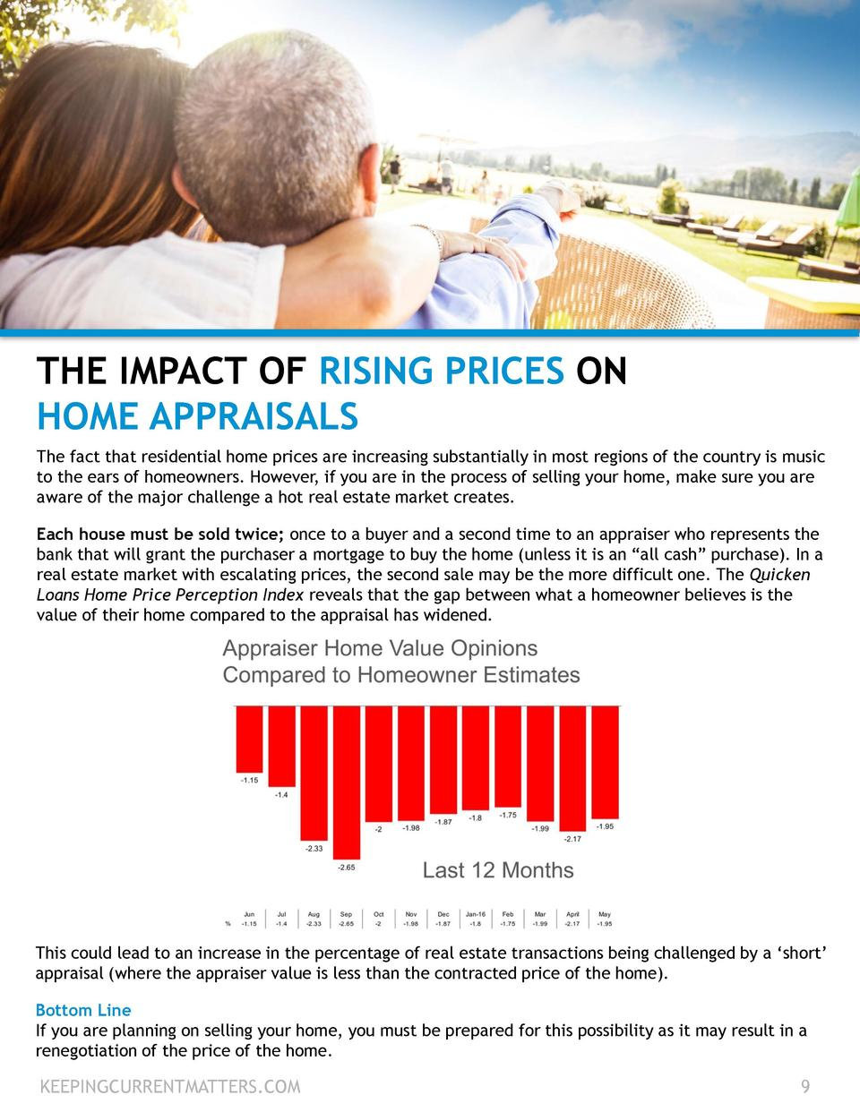 THE IMPACT OF RISING PRICES ON HOME APPRAISALS The fact that residential home prices are increasing substantially in most ...
