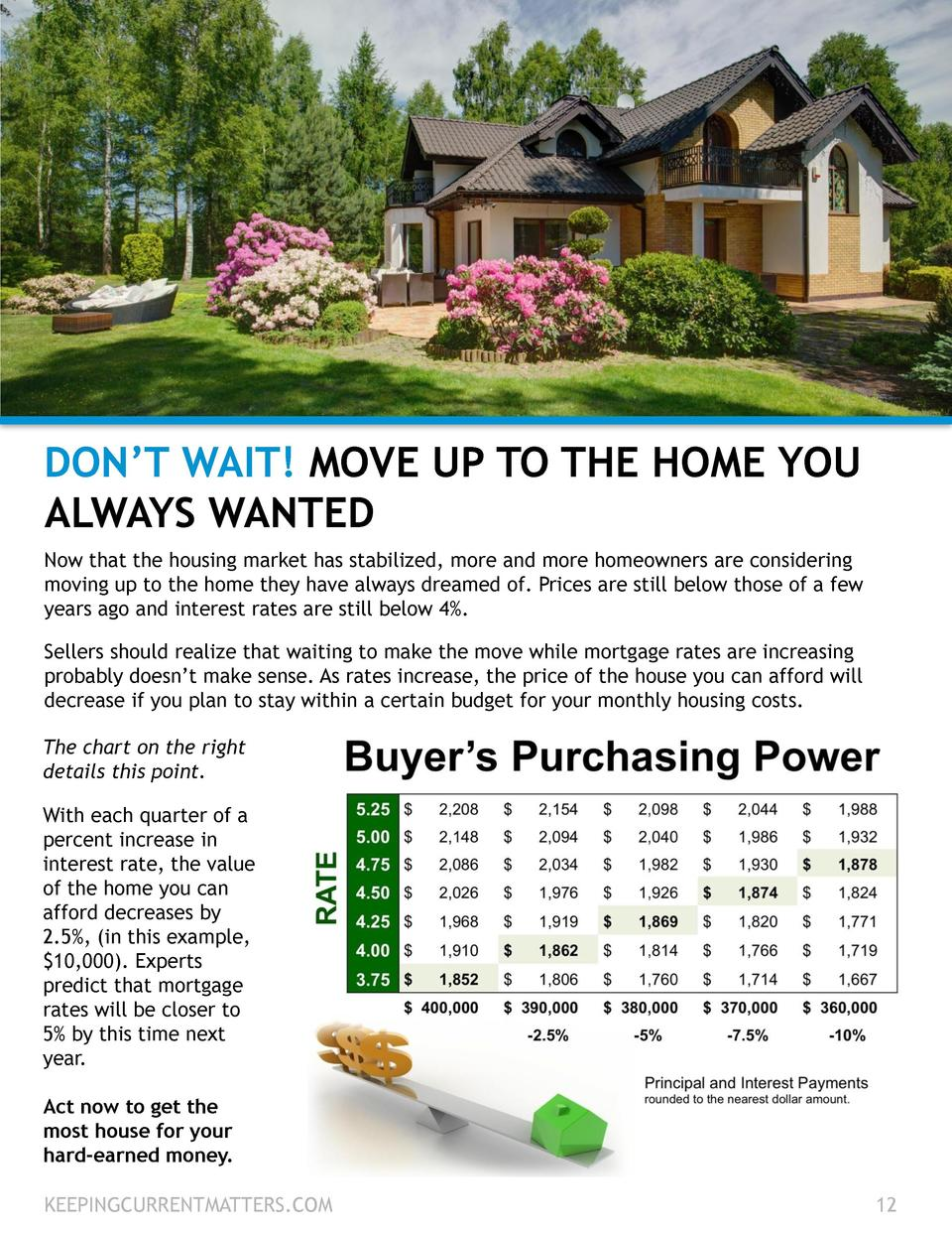 DON   T WAIT  MOVE UP TO THE HOME YOU ALWAYS WANTED Now that the housing market has stabilized, more and more homeowners a...