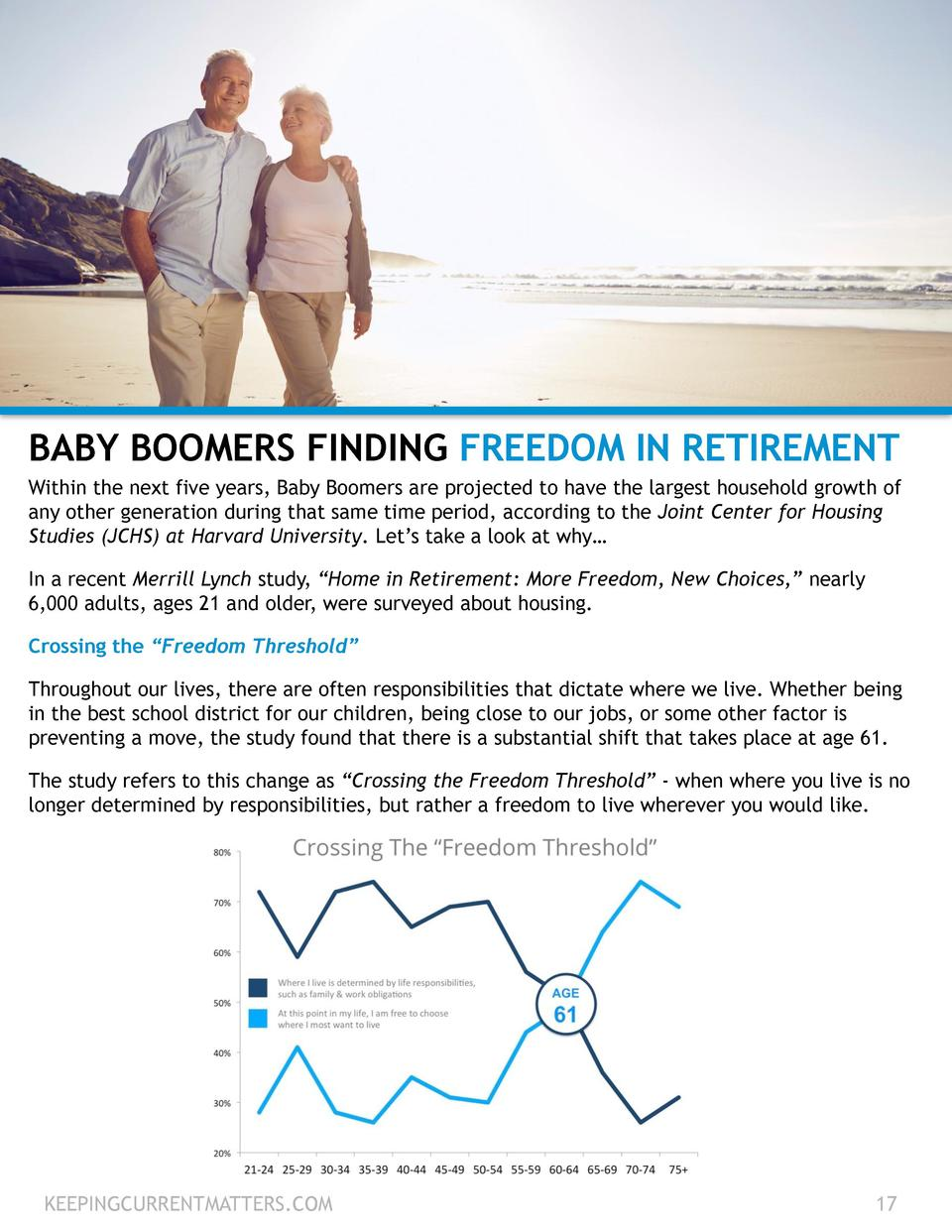 BABY BOOMERS FINDING FREEDOM IN RETIREMENT Within the next five years, Baby Boomers are projected to have the largest hous...