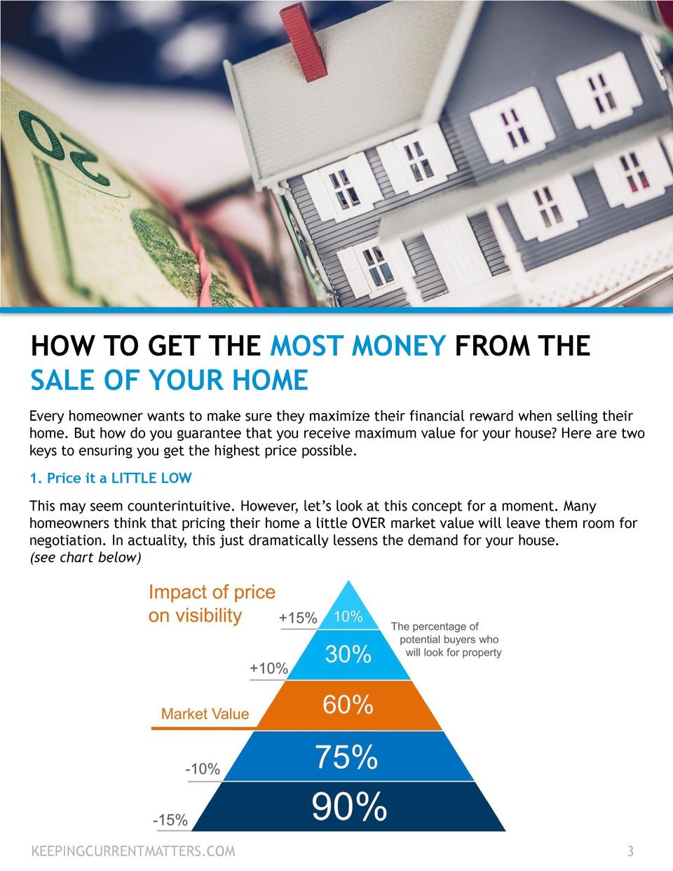 HOW TO GET THE MOST MONEY FROM THE SALE OF YOUR HOME Every homeowner wants to make sure they maximize their financial rewa...