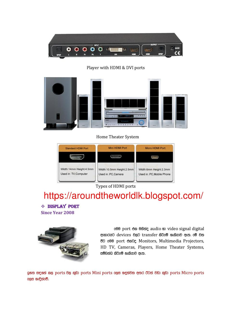 Player with HDMI   DVI ports  Home Theater System  Types of HDMI ports  https   aroundtheworldlk.blogspot.com      Display...