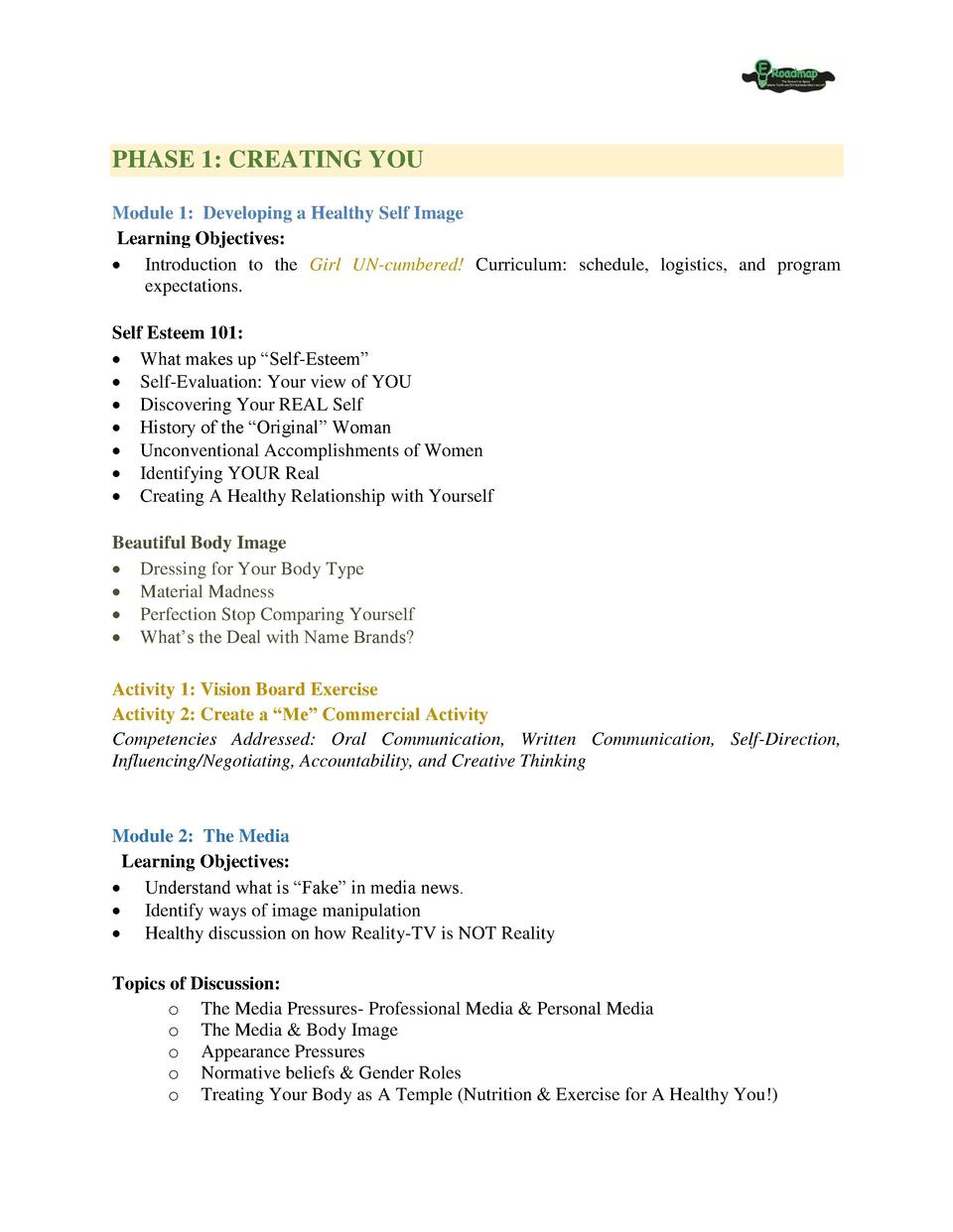 PHASE 1  CREATING YOU Module 1  Developing a Healthy Self Image Learning Objectives      Introduction to the Girl UN-cumbe...