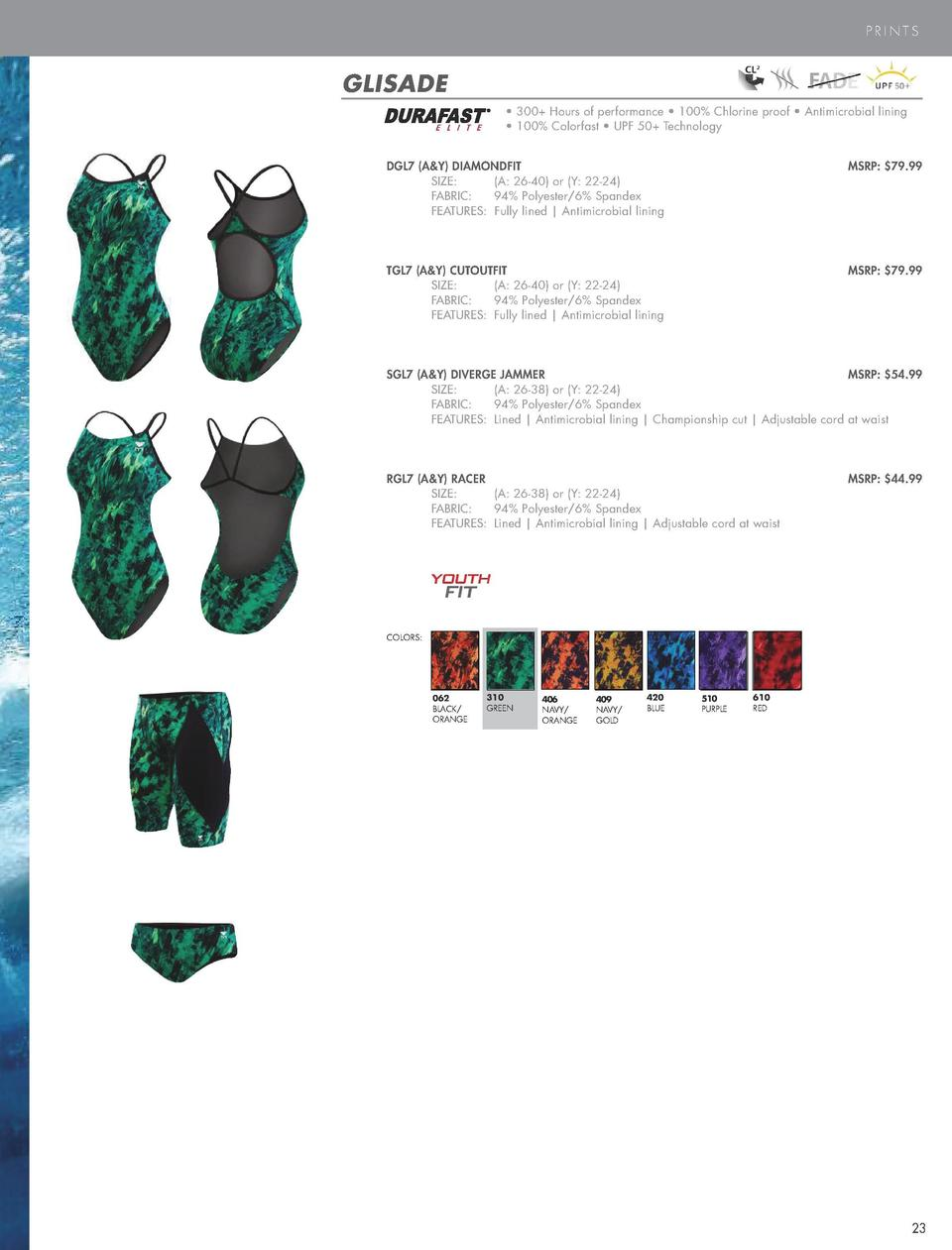 PRINTS  GLISADE     300  Hours of performance     100  Chlorine proof     Antimicrobial lining     100  Colorfast     UPF ...
