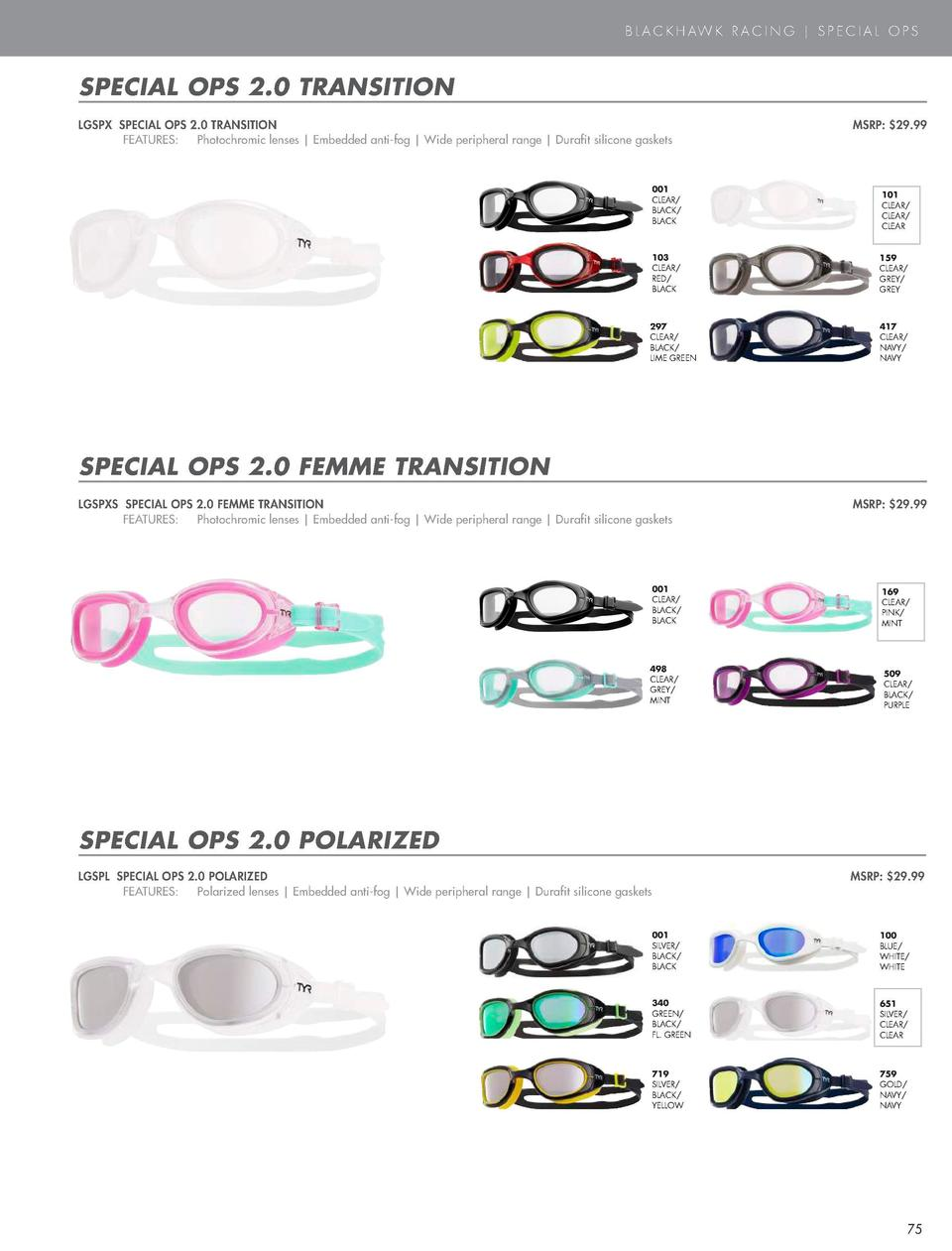 PERFORMANCE GOGGLES  B L A C K H AW K R A C I N G   S P E C I A L O P S  BLACKHAWK RACING FEMME  SPECIAL OPS 2.0 TRANSITIO...