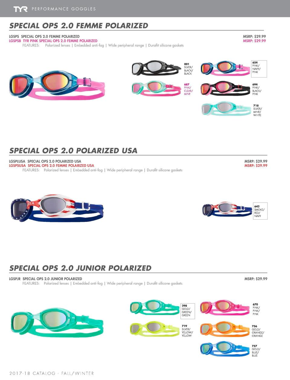 PERFORMANCE GOGGLES  SPECIAL OPS 2.0      TRACER    RACING  TRACER    RACING MIRRORED  SPECIAL OPS 2.0 FEMME POLARIZED LGS...