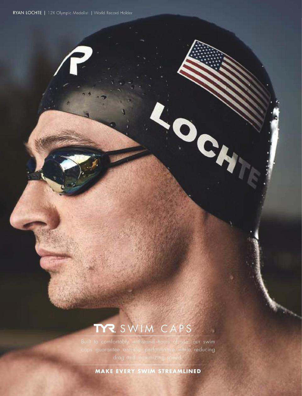 PERFORMANCE CAPS  RYAN LOCHTE   12X Olympic Medalist   World Record Holder  WALL-BREAKER RACING SWIM CAP LCWBRKR WALL-BREA...