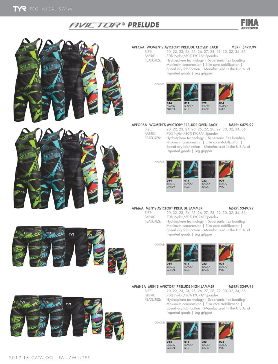 TECHNICAL SWIM  THRESHER         PRELUDE APFC6A WOMEN   S   SIZE     FABRIC     FEATURES                 AVICTOR    PRELUD...