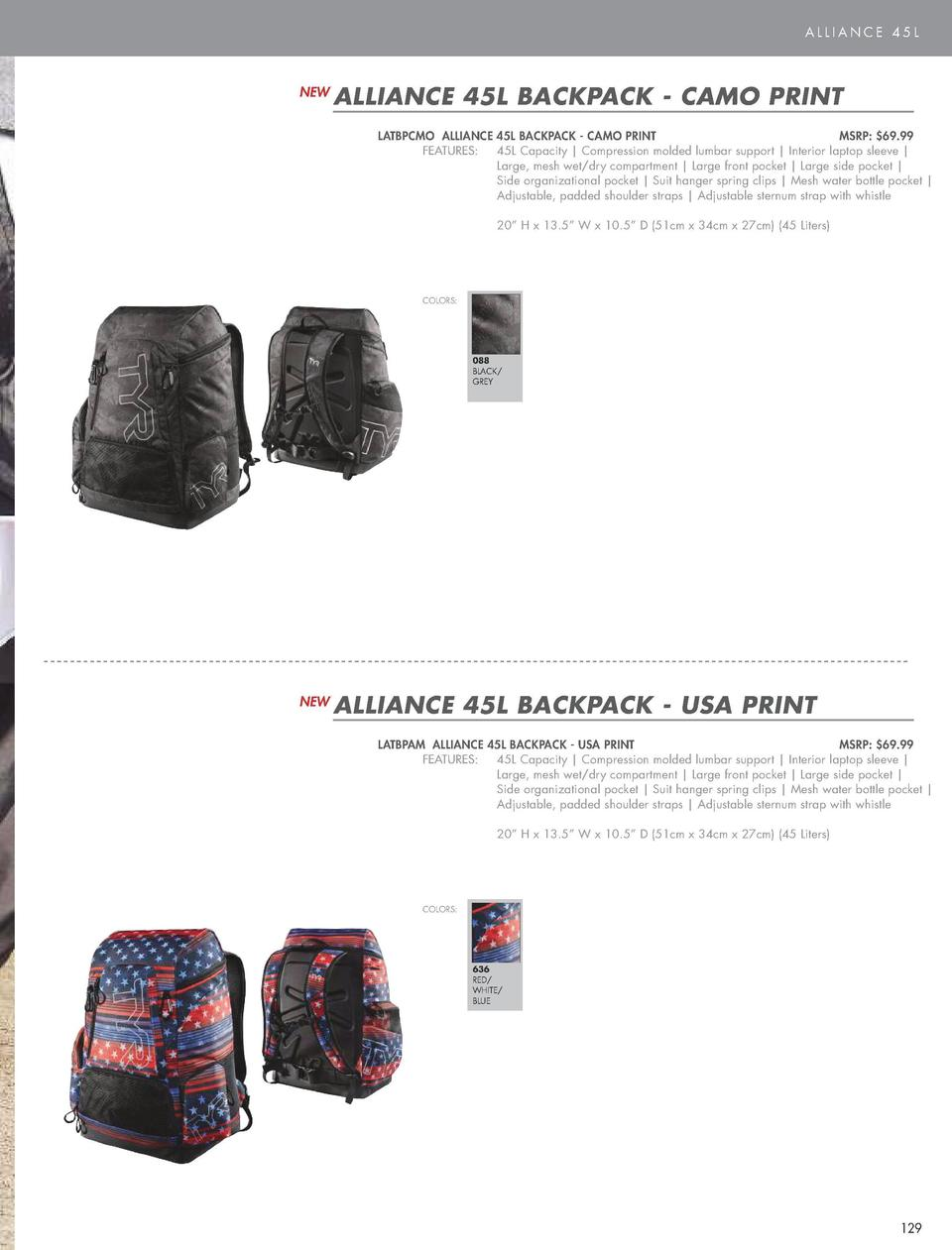 ALLIANCE 45L  NEW  ALLIANCE 45L BACKPACK - CAMO PRINT LATBPCMO ALLIANCE  FEATURES            45L BACKPACK - CAMO PRINT  MS...
