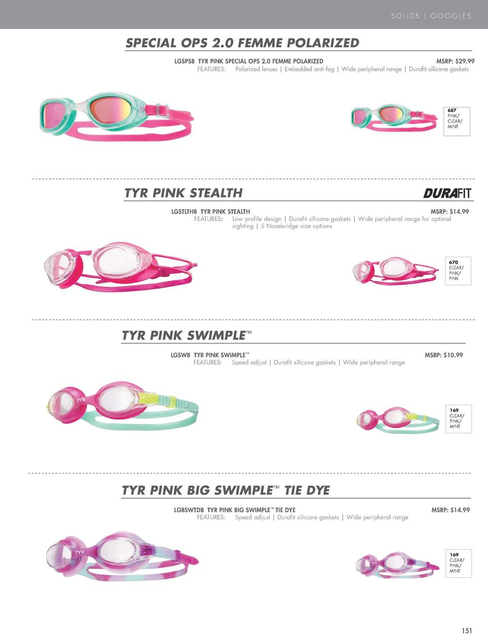 SOLIDS   GOGGLES  PINK  SPECIAL OPS 2.0 FEMME POLARIZED  TYR PINK SOLID SQUARE NECK CONTROLFIT     300  Hours of performan...