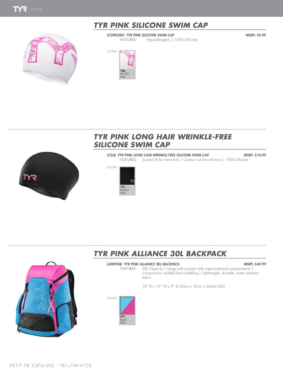 SWIM CAPS   BAG   EQUIPMENT  PINK  TYR PINK ULTRALITE SNORKEL 2.0  TYR PINK SILICONE SWIM CAP LCSPKCMO TYR PINK SILICONE S...