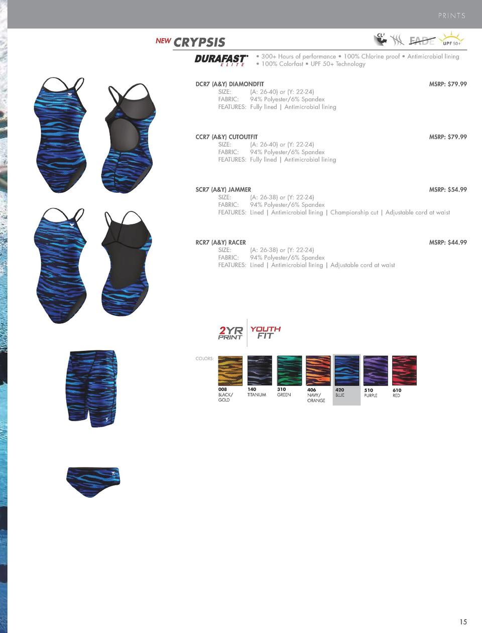 PERFORMANCE SWIM  PRINTS  NEW  CRYPSIS     300  Hours of performance     100  Chlorine proof     Antimicrobial lining     ...