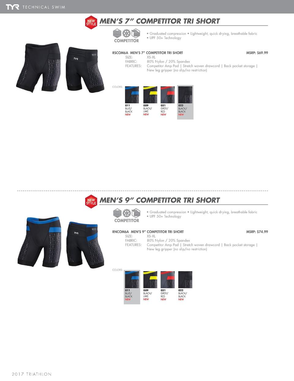 T R I S H O R T S   T R I AT H L O N A C C E S S O R I E S  TECHNICAL SWIM NEW STYLE  MEN   S 7    COMPETITOR TRI SHORT   ...