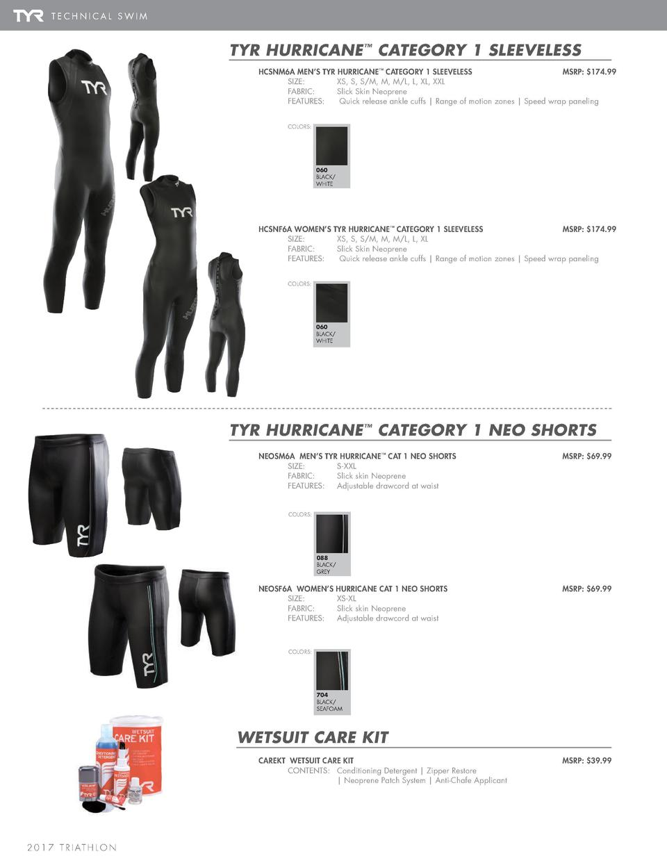 WETSUIT ACCESSORIES  TECHNICAL SWIM  TYR HURRICANE    CATEGORY 1 SLEEVELESS HCSNM6A MEN   S TYR HURRICANE    CATEGORY 1 SL...