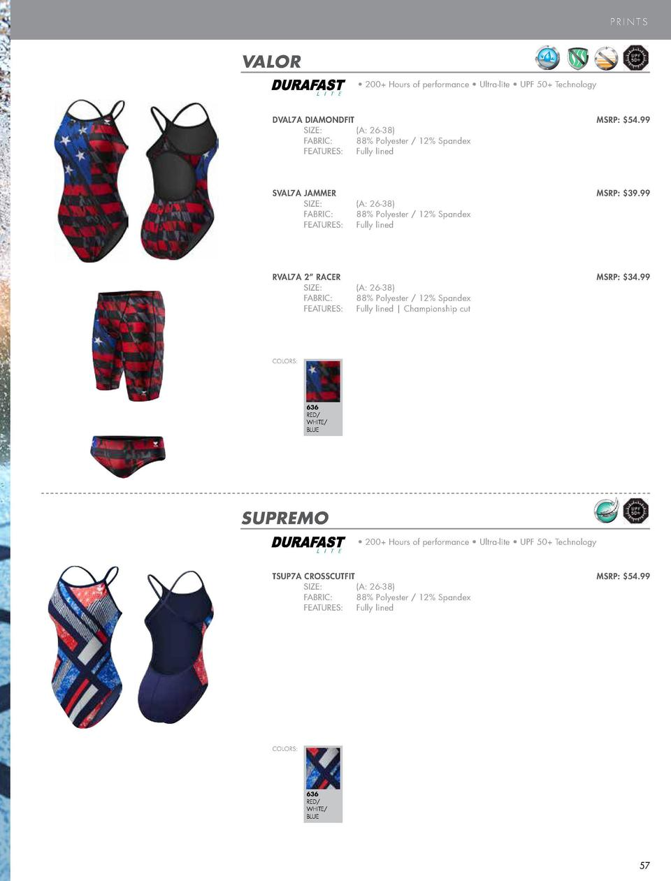PERFORMANCE SWIM  PRINTS  VALOR     200  Hours of performance     Ultra-lite     UPF 50  Technology  COLOR  L I T E  BLACK...