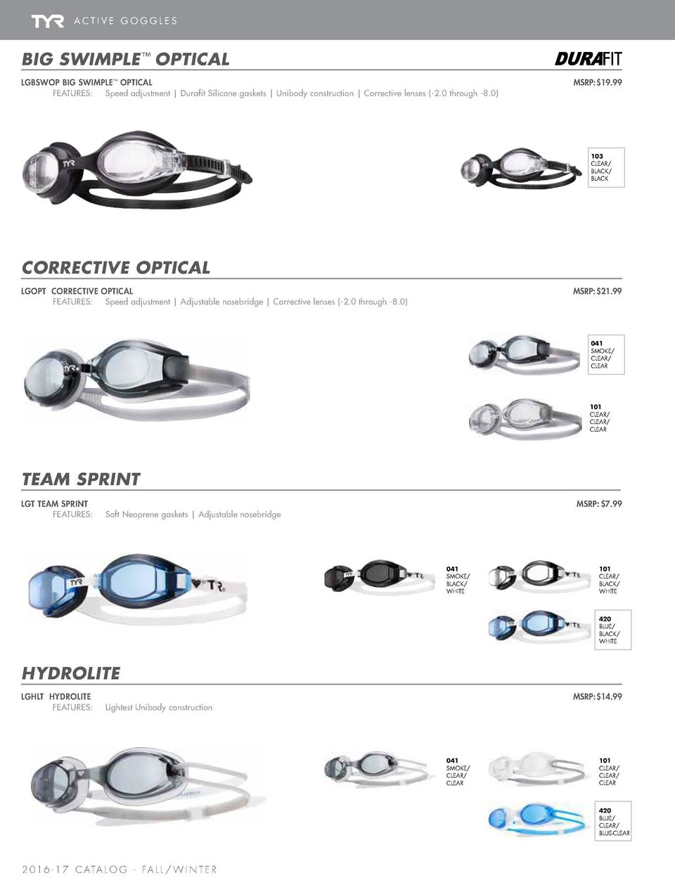 ACTIVE GOGGLES  BIG SWIMPLE      CORRECTIVE OPTICAL   TEAM SPRINT   HYDROLITE  BIG SWIMPLE     OPTICAL  NEW STYLE  LGBSWOP...