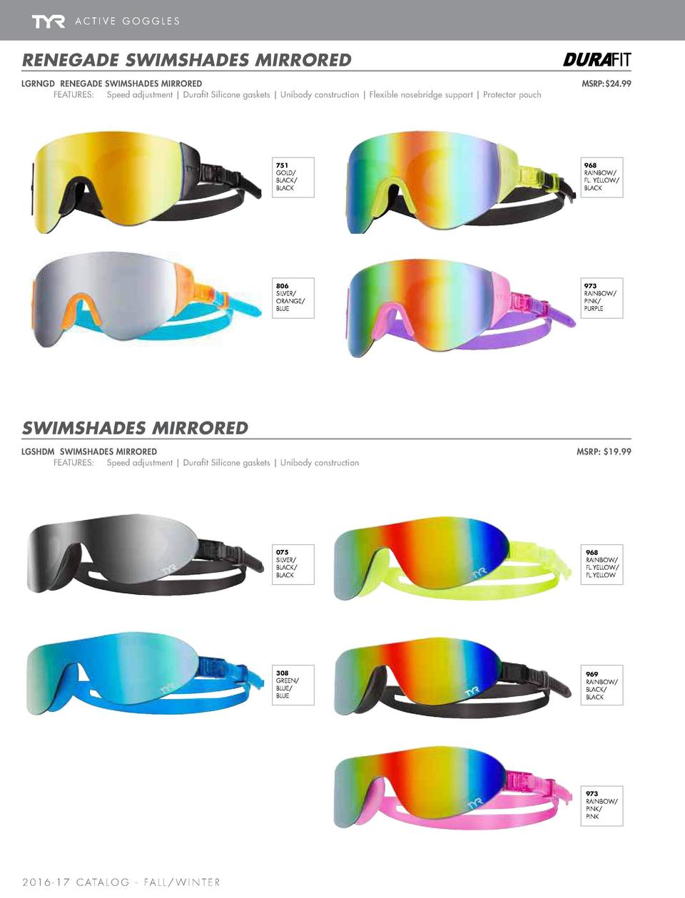 ACTIVE GOGGLES  SWIMSHADES   SWIM MASKS  RENEGADE SWIMSHADES MIRRORED LGRNGD RENEGADE SWIMSHADES MIRRORED        FEATURES ...