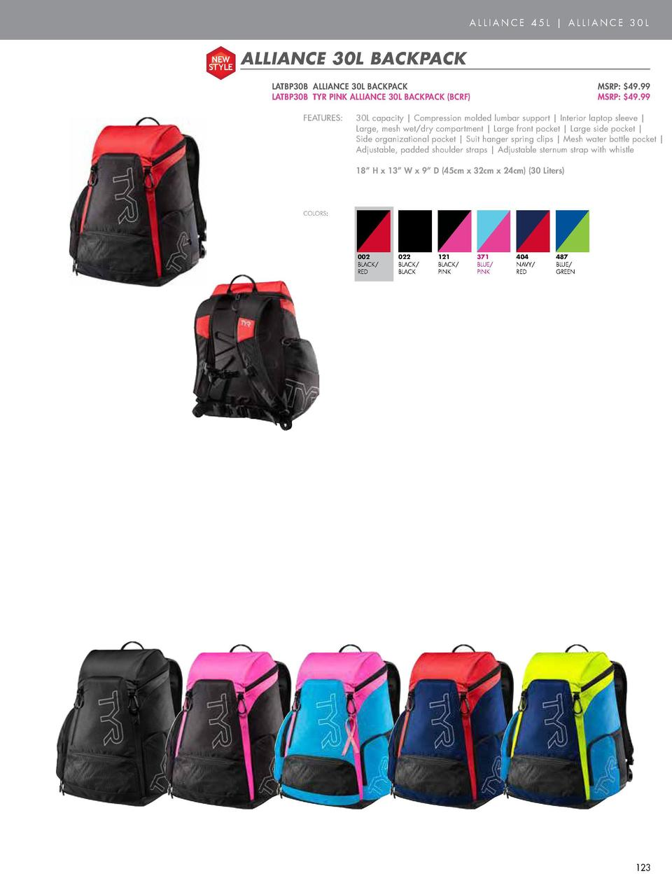 BAGS  ALLIANCE 45L   ALLIANCE 30L  NEW STYLE  ALLIANCE 45L BACKPACK  NEW STYLE  LATBP45 ALLIANCE 45L BACKPACK  MSRP   59.9...