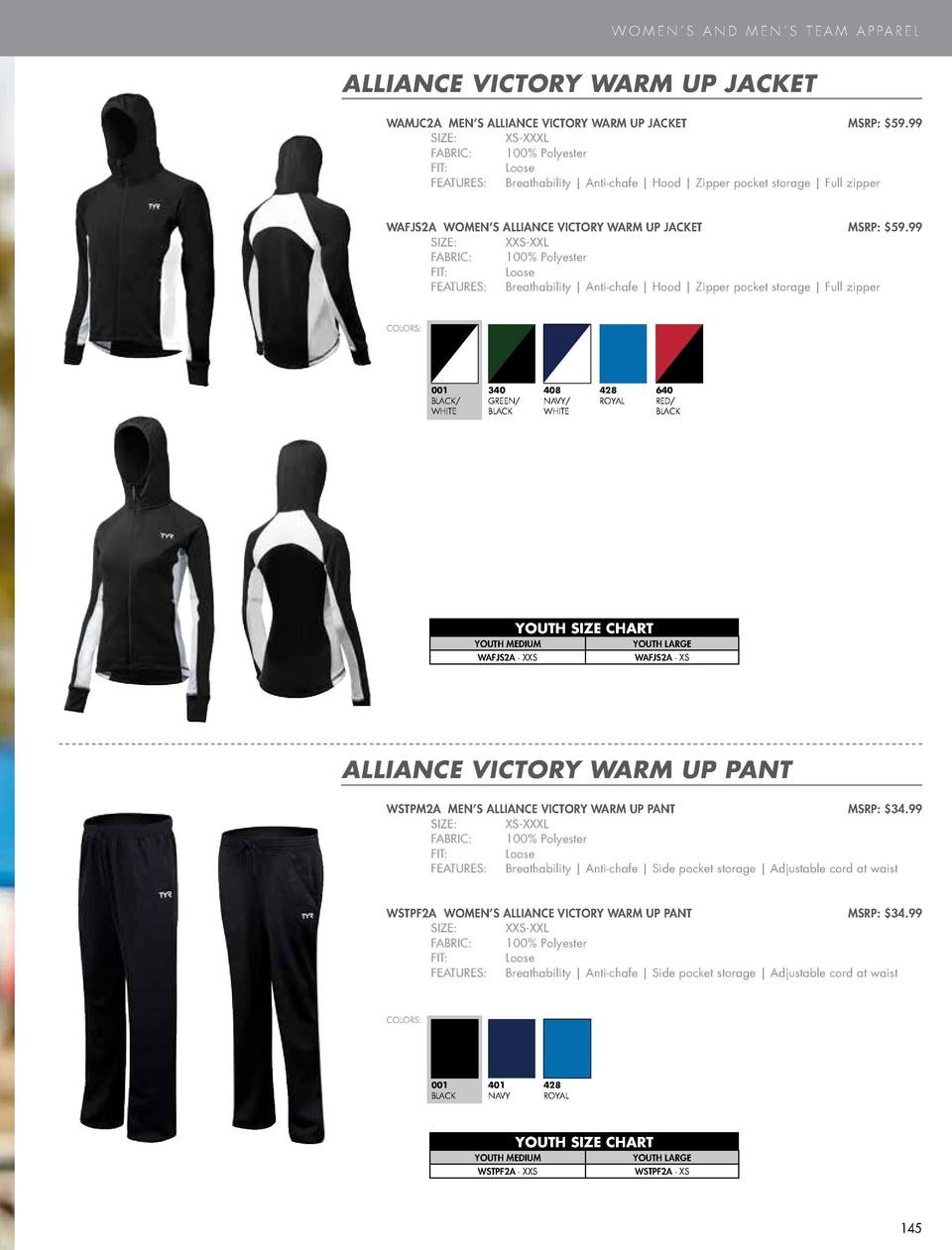 W O M E N     S A N D M E N     S T E A M A P PA R E L  ALLIANCE VICTORY WARM UP JACKET WAMJC2A MEN   S ALLIANCE VICTORY W...