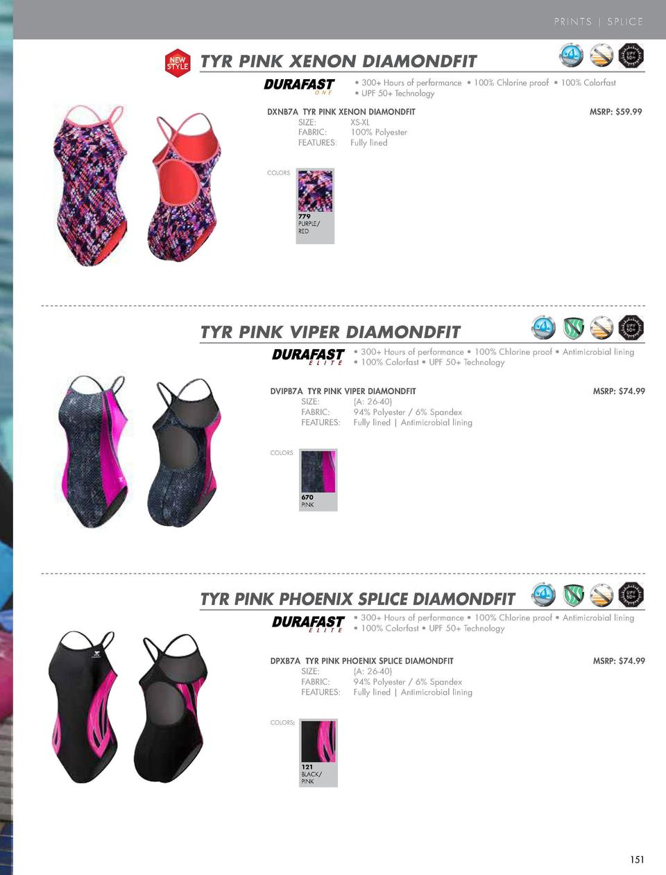 PRINTS   SPLICE  NEW STYLE  TYR PINK XENON DIAMONDFIT COLOR  O N E  BLACK      300  Hours of performance     100  Chlorine...
