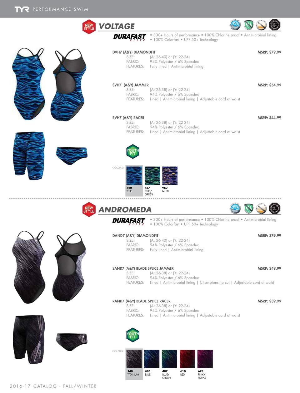 PERFORMANCE SWIM  PRINTS  NEW STYLE  VOLTAGE  NEW STYLE     300  Hours of performance     100  Chlorine proof     Antimicr...