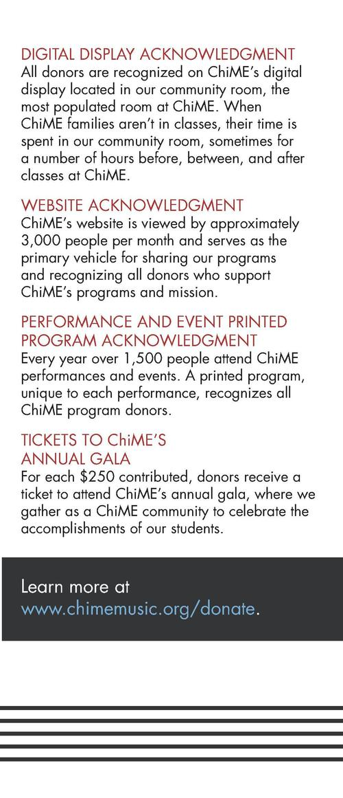 We are extraordinarily grateful for the generosity of our donors and their belief in our work and mission. ChiME honors it...