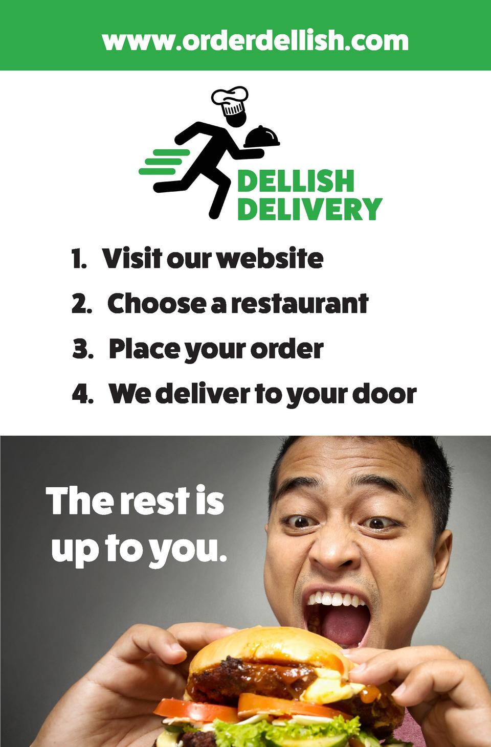 www.orderdellish.com  1. Visit our website 2. Choose a restaurant 3. Place your order 4. We deliver to your door  The rest...