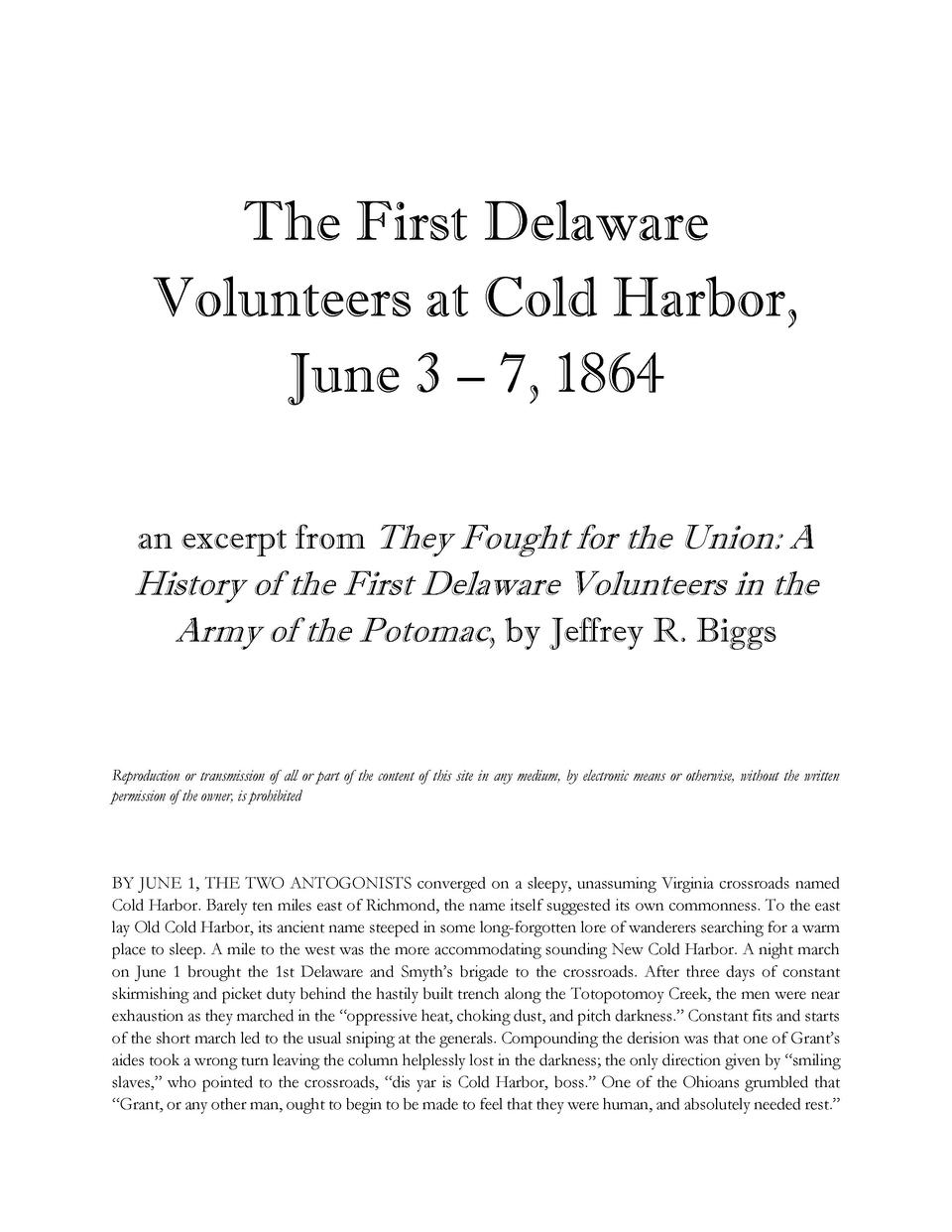 The First Delaware Volunteers at Cold Harbor, June 3     7, 1864 an excerpt from They Fought for the Union  A  History of ...
