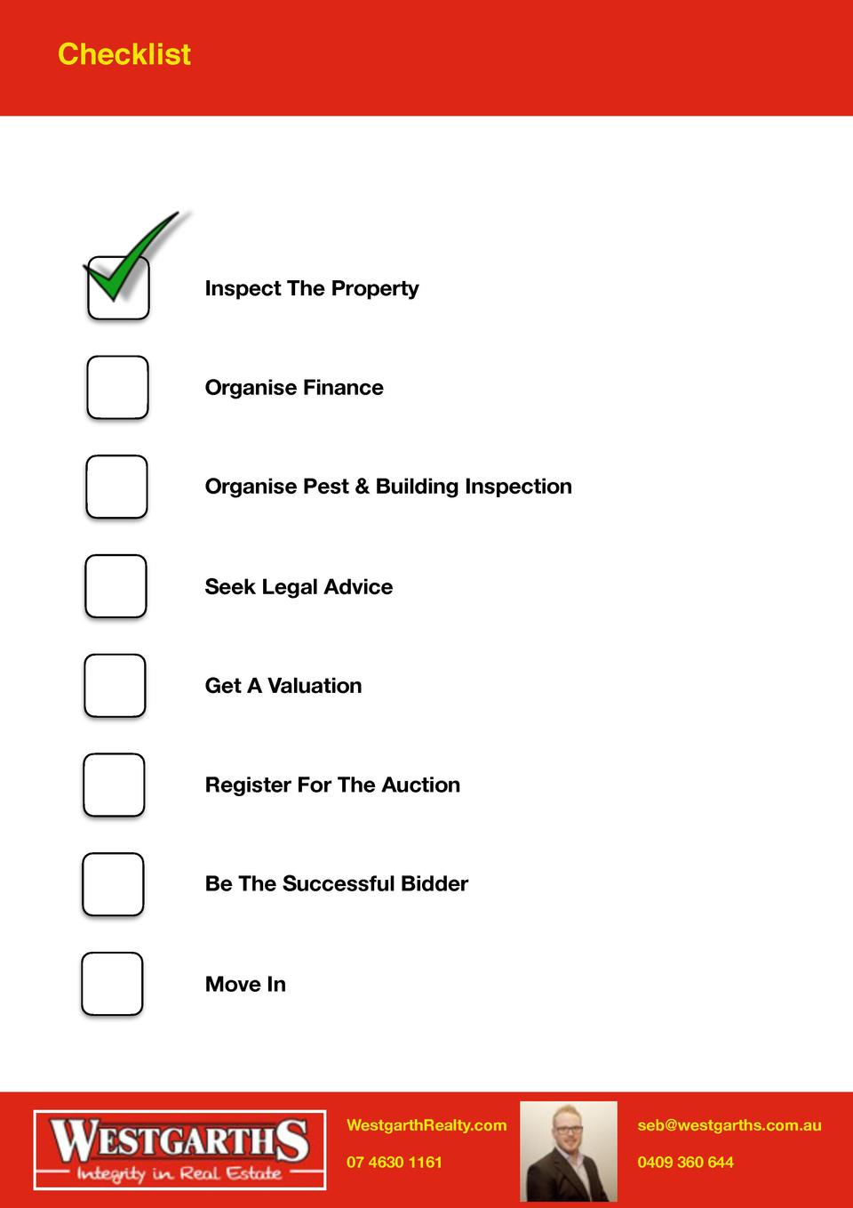 Checklist  Inspect The Property  Organise Finance  Organise Pest   Building Inspection  Seek Legal Advice  Get A Valuation...