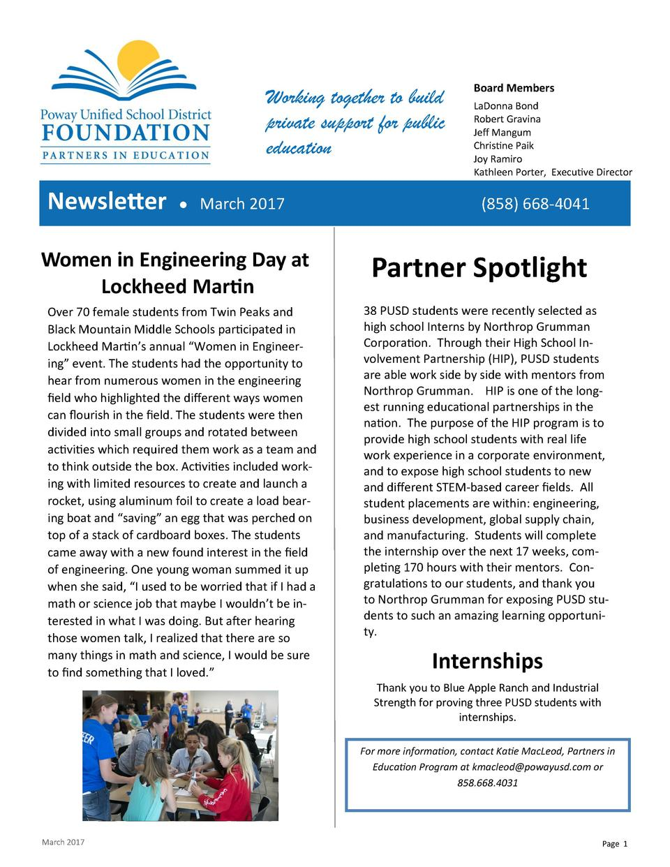 Working together to build private support for public education  Newsletter      March 2017  Women in Engineering Day at Lo...