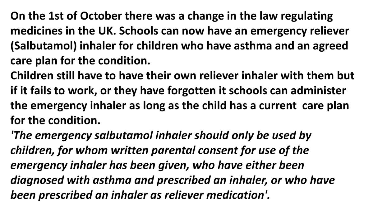On the 1st of October there was a change in the law regulating medicines in the UK. Schools can now have an emergency reli...