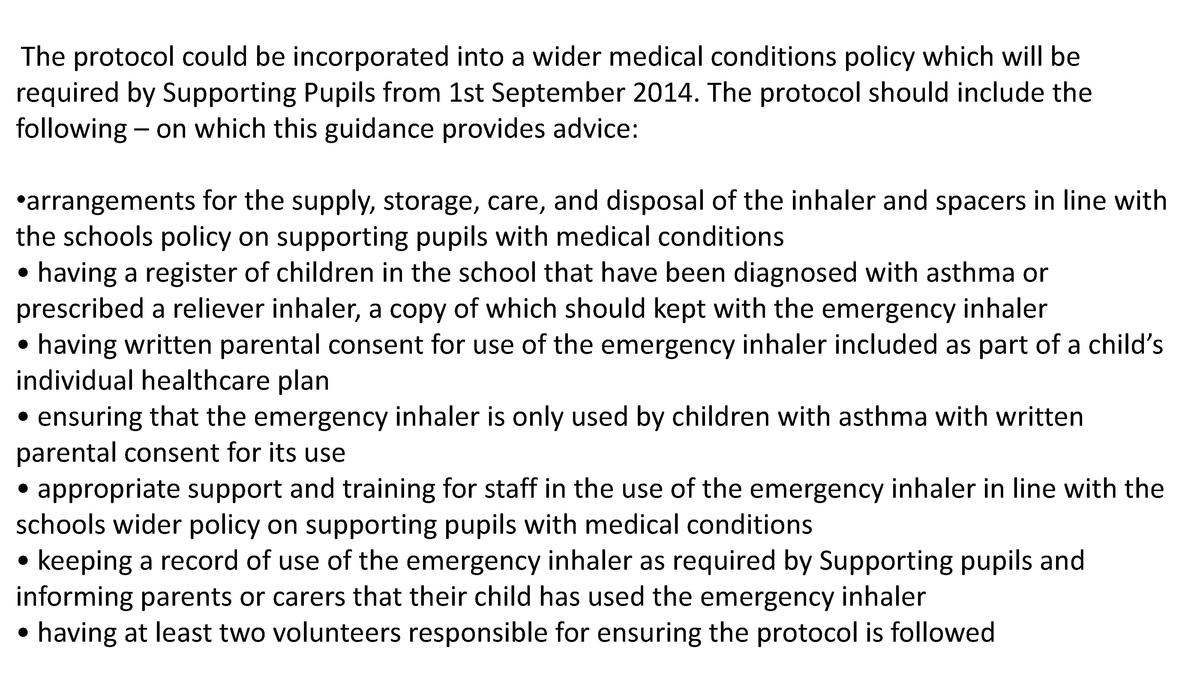 The protocol could be incorporated into a wider medical conditions policy which will be required by Supporting Pupils from...