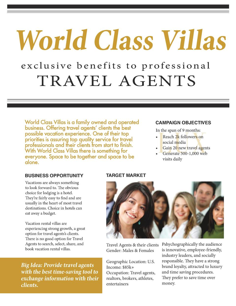World Class Villas exclusive benefits to professional  TRAVEL AGENTS  World Class Villas is a family owned and operated bu...