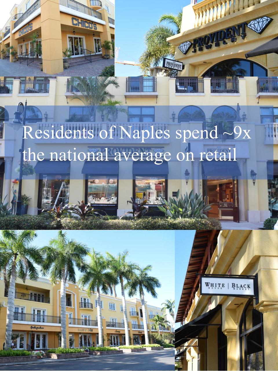 Residents of Naples spend  9x the national average on retail  6