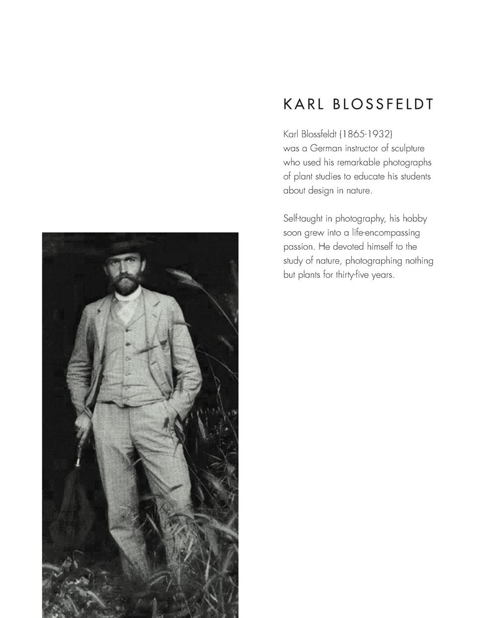 KARL BLOSSFELDT Karl Blossfeldt  1865-1932  was a German instructor of sculpture who used his remarkable photographs of pl...