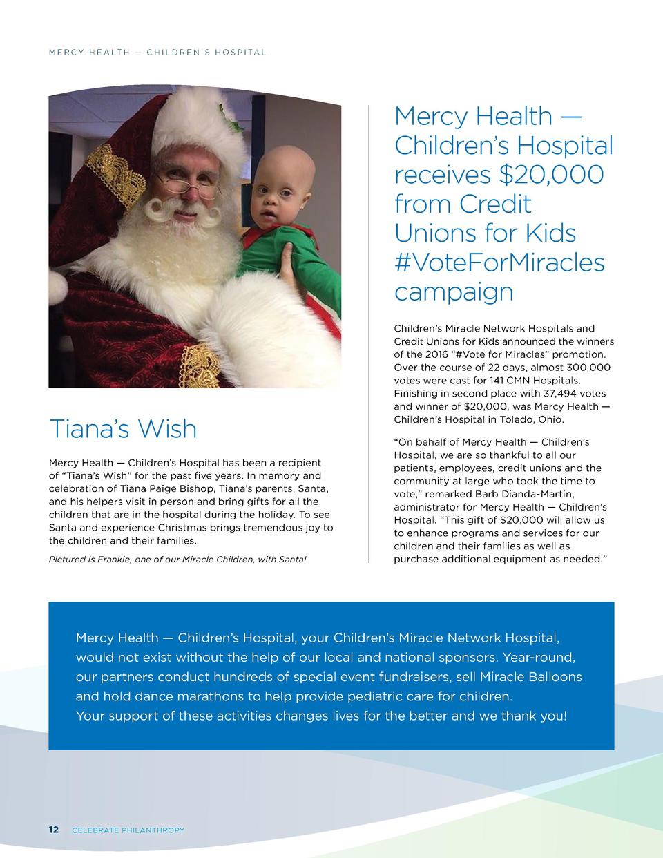 M E R C Y H E A LT H     C H I L D R E N     S H O S P I TA L  Mercy Health     Children   s Hospital receives  20,000 fro...
