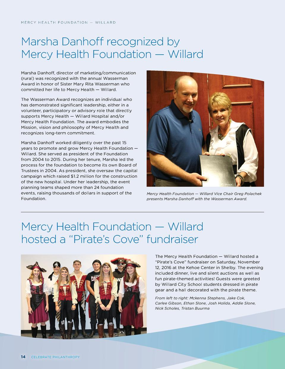 M E R C Y H E A LT H F O U N D AT I O N     W I L L A R D  Marsha Danhoff recognized by Mercy Health Foundation     Willar...