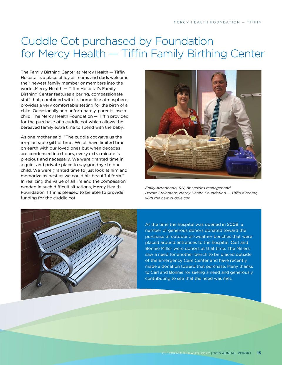 M E R C Y H E A LT H F O U N D AT I O N     T I F F I N  Cuddle Cot purchased by Foundation for Mercy Health     Tiffin Fa...