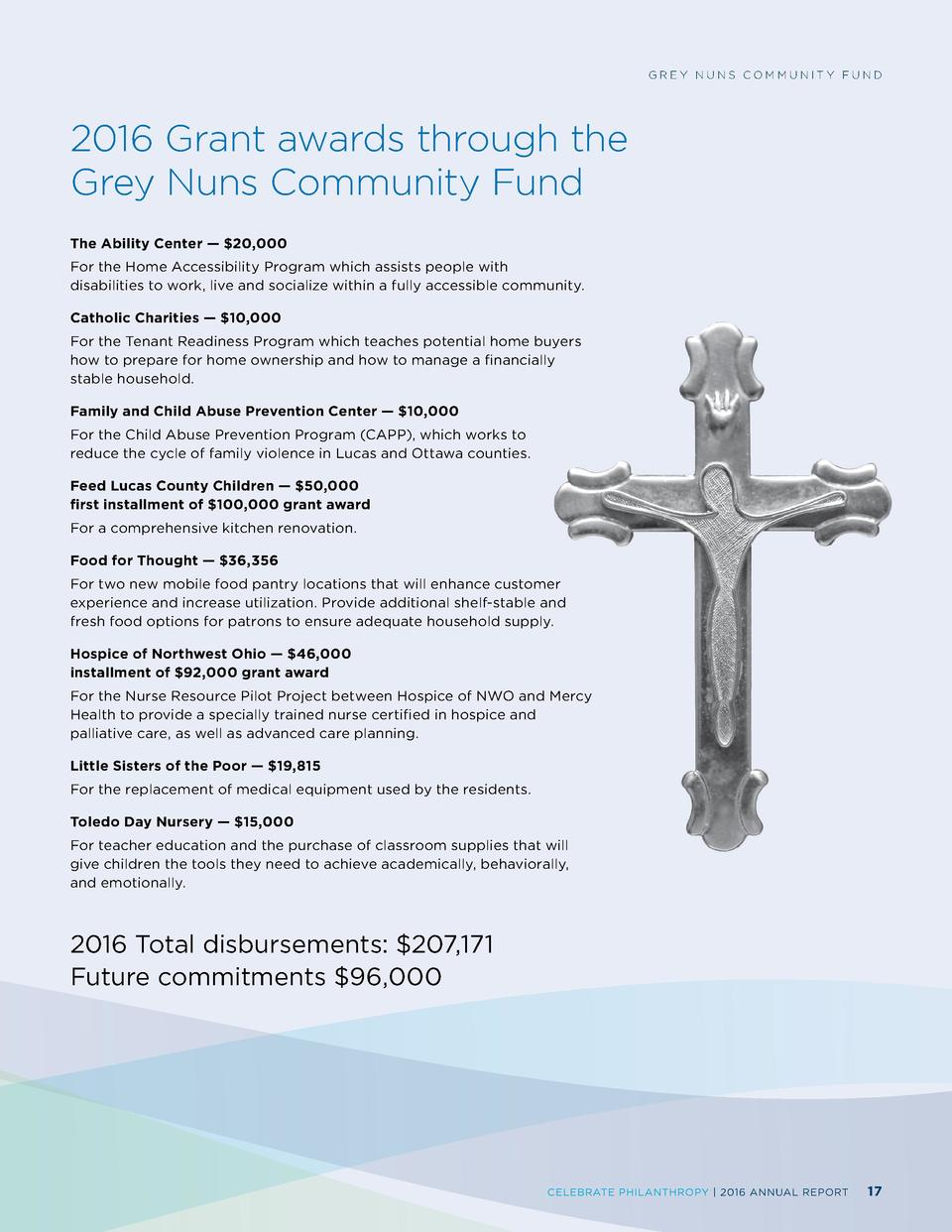 GREY NUNS COMMUNITY FUND  2016 Grant awards through the Grey Nuns Community Fund The Ability Center      20,000  For the H...