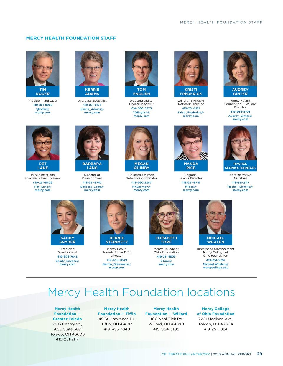 M E R C Y H E A LT H F O U N D AT I O N S TA F F  MERCY HEALTH FOUNDATION STAFF  TIM KODER  KERRIE ADAMS  TOM ENGLISH  KRI...