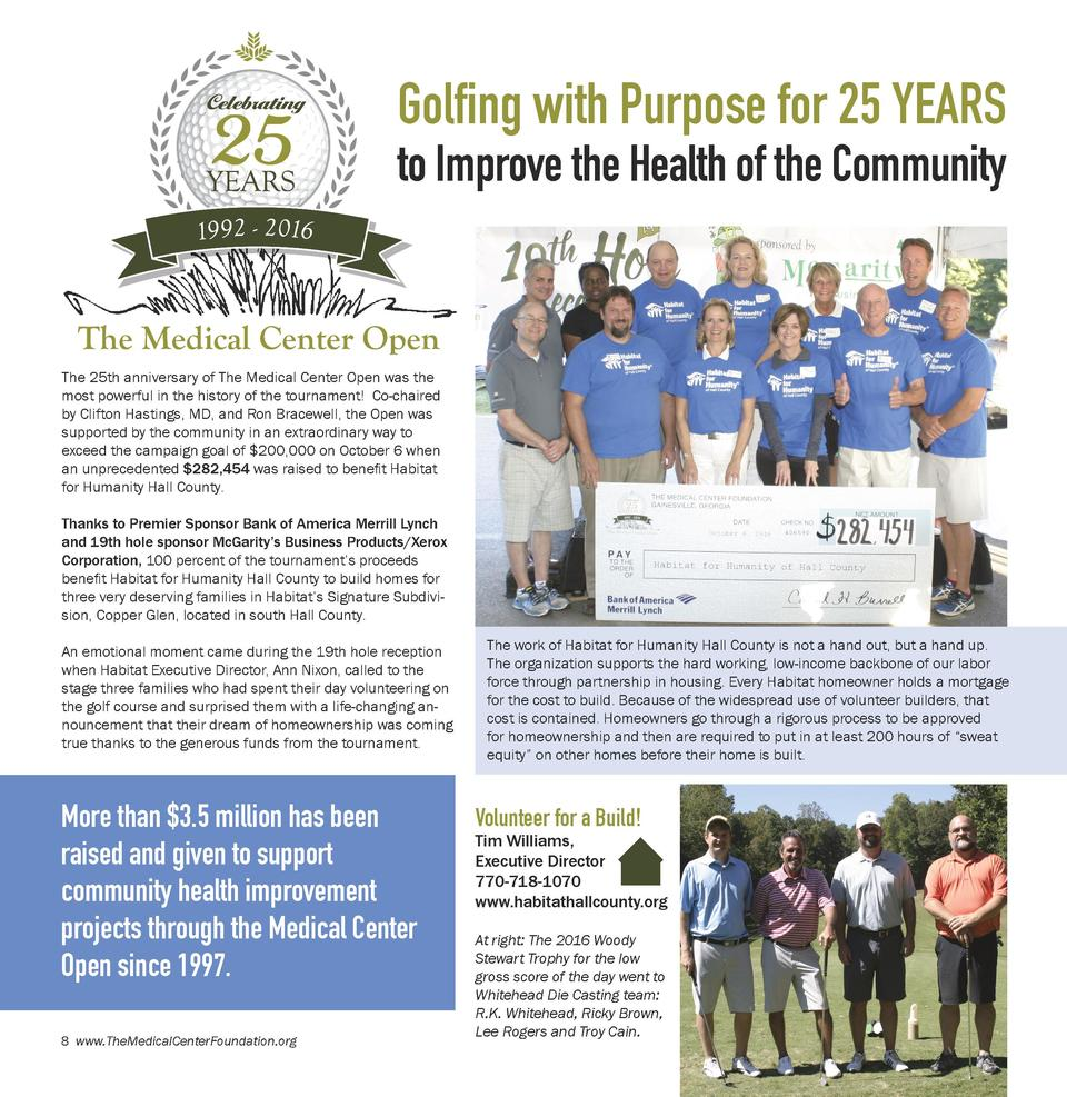 Golfing with Purpose for 25 YEARS to Improve the Health of the Community  The 25th anniversary of The Medical Center Open ...