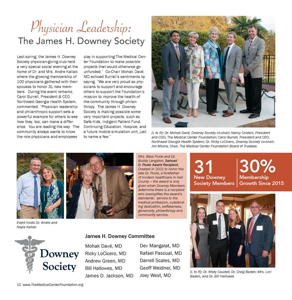 Physician Leadership   The James H. Downey Society Last spring, the James H. Downey Society physician-giving club held a v...