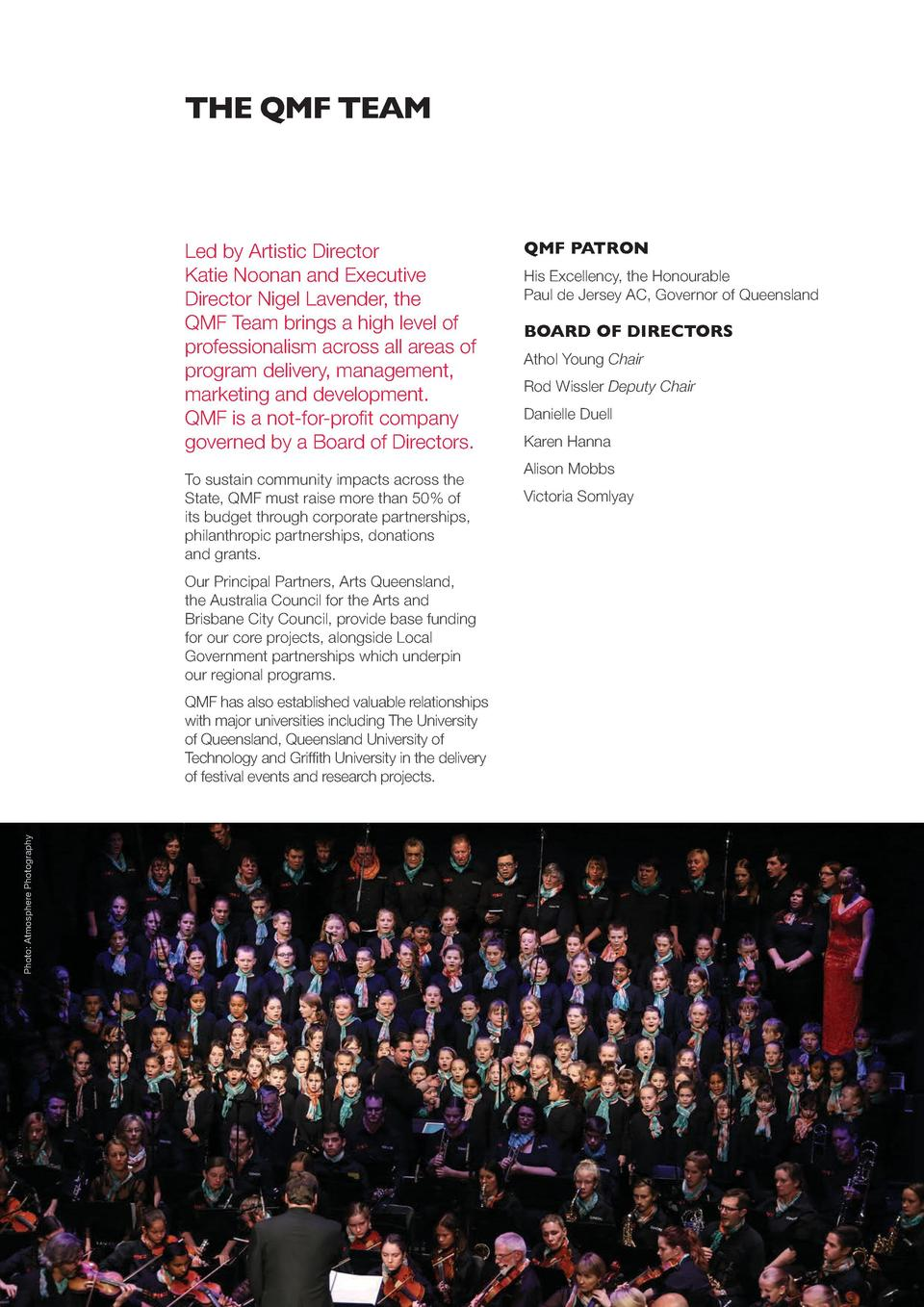 THE QMF TEAM  Led by Artistic Director Katie Noonan and Executive Director Nigel Lavender, the QMF  Team brings a high lev...