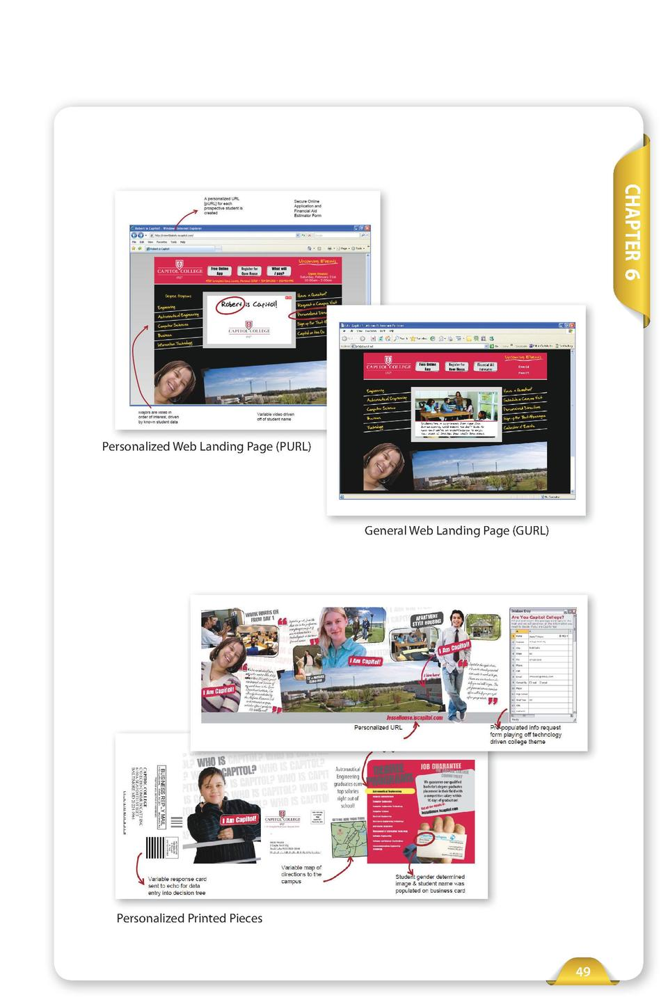 CHAPTER 6  Personalized Web Landing Page  PURL   General Web Landing Page  GURL   Personalized Printed Pieces  49