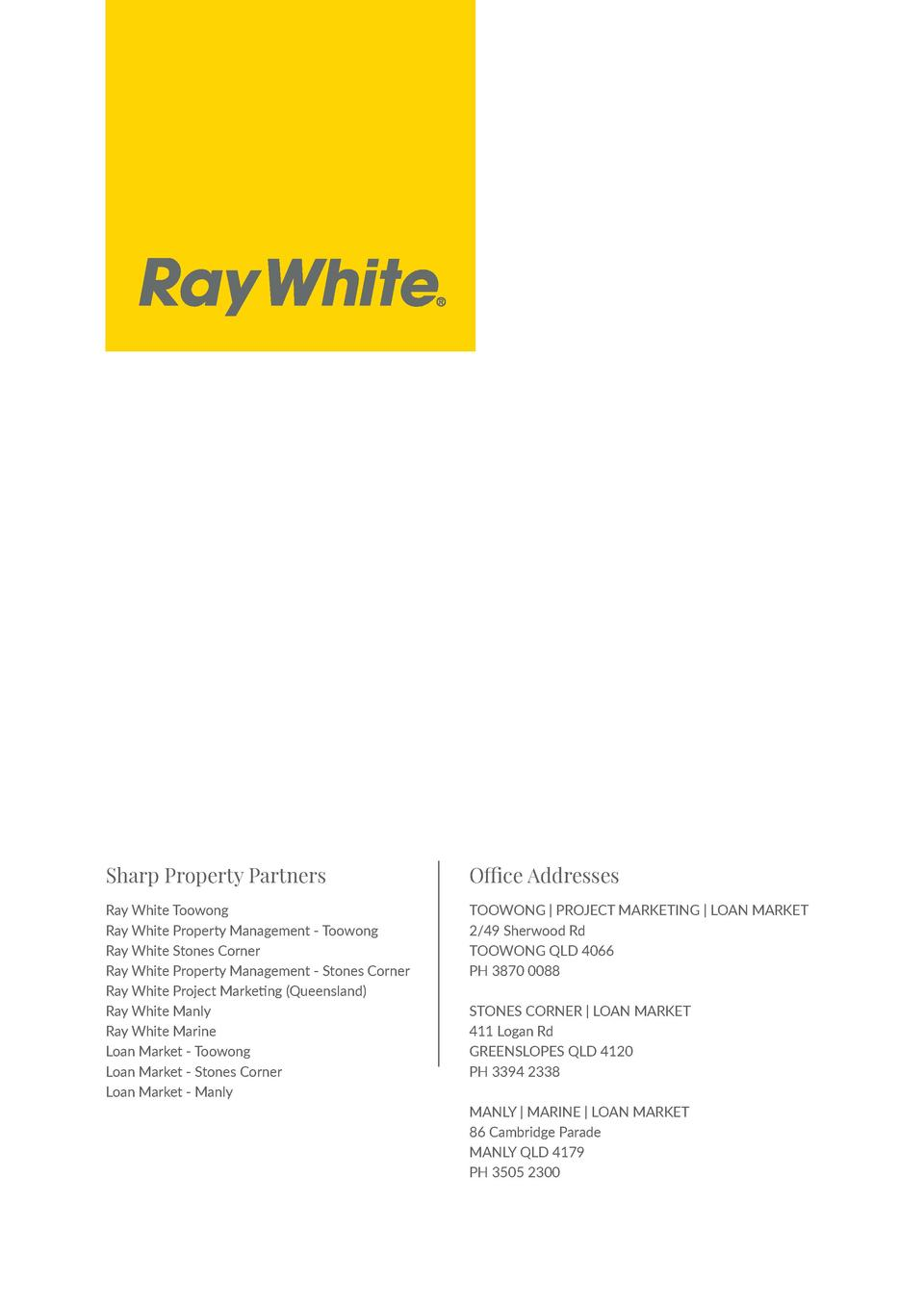 Sharp Property Partners  Office Addresses  Ray White Toowong Ray White Property Management - Toowong Ray White Stones Corn...