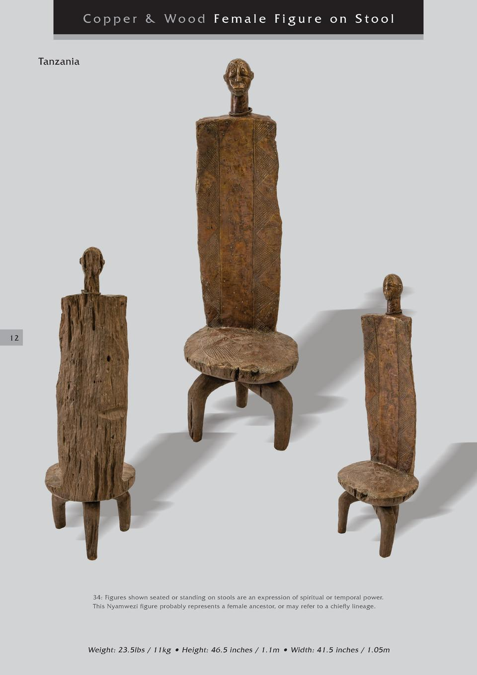 Copper   Wood Female Figure on Stool Tanzania  12  34  Figures shown seated or standing on stools are an expression of spi...
